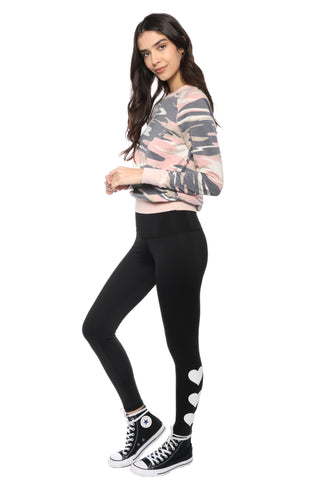 Strut This White Heart Leggings