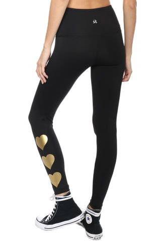 Strut This Metallic Heart Leggings