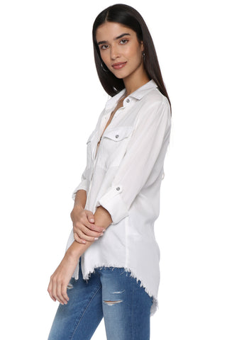 Decker Luxe Raw Hem Button Down Top