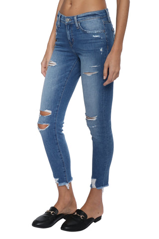 Flying Monkey Distress Fray Hem Crop Skinny
