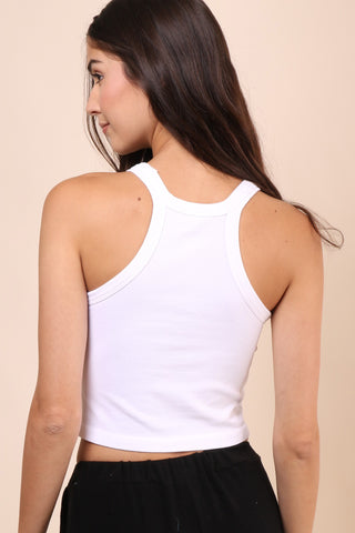 Suzette Ribbed Crop Tank -  White