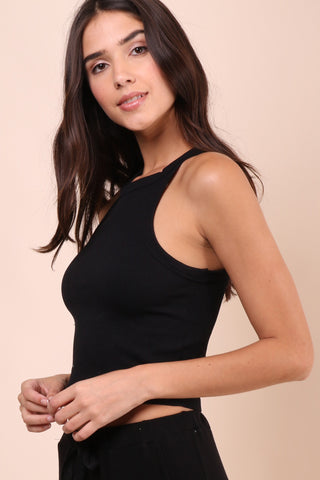 Suzette Ribbed Crop Tank -  Black