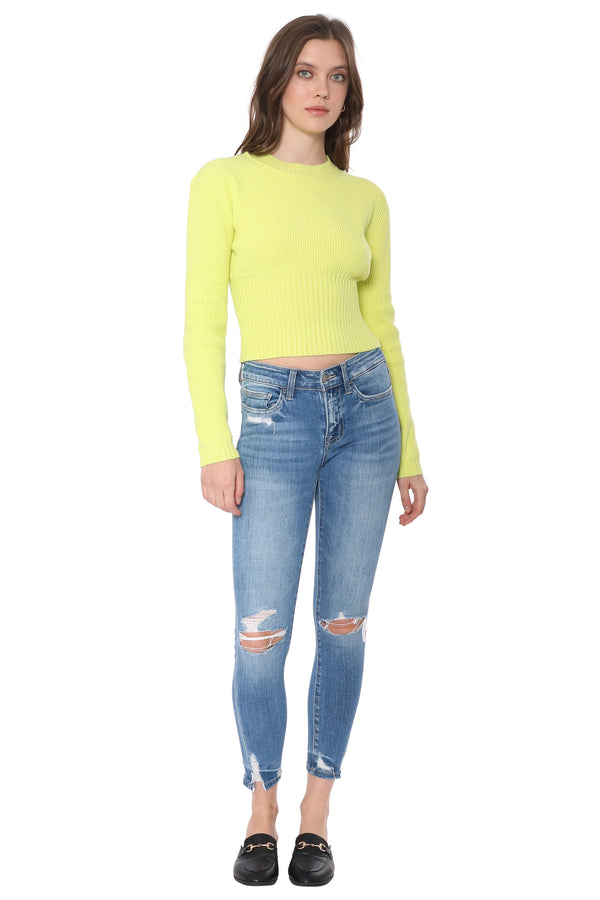 Lemon Lime Ribbed Sweater
