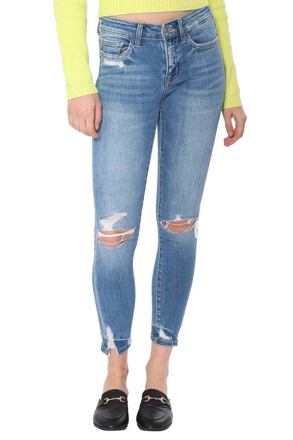 Mid Rise Crop Skinny With Ripped Hem