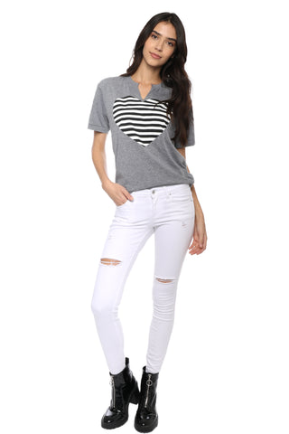 Jet x Mixology Stripe Heart Cut Neck Tee