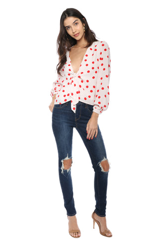 Lovers + Friends Theo Blouse - Berry
