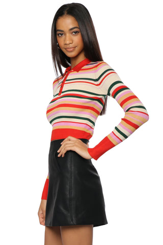 Gab & Kate Stripe Polo Crop Sweater