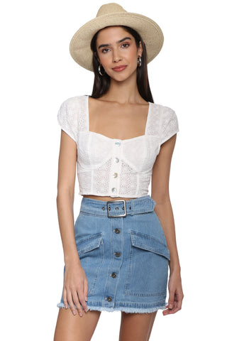 Gab & Kate Eyelet Button Up Crop Top