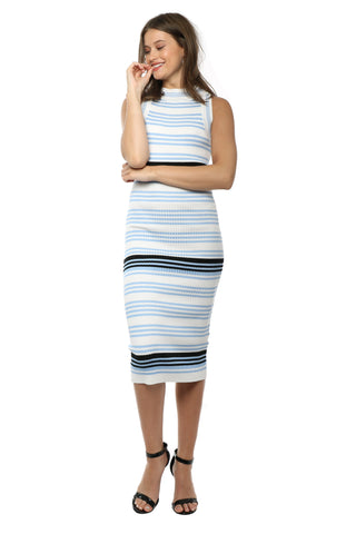 J.O.A. Stripe Fitted Maxi Dress