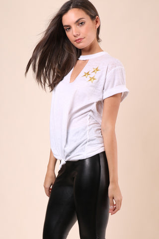 Jet X Mixology Stars Patch Tie Front Choker Tee