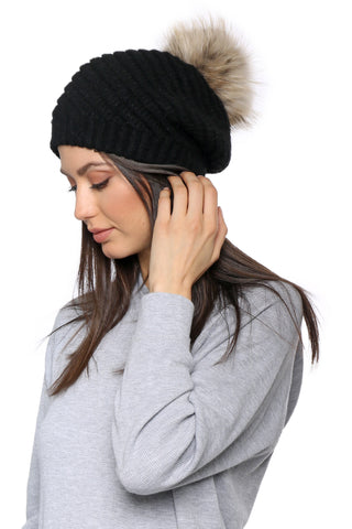 Linda Richards Slouch Beanie with Pom
