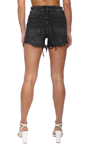 VERVET High Rise Frayed Waistband Hem Short