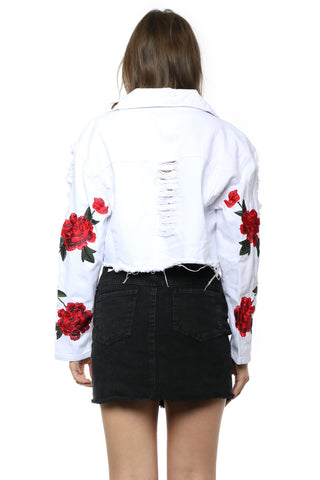 Brooklyn Karma Rose Embroidered Denim Jacket