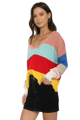 Fox + Hawk Distressed V Colorblock Sweater