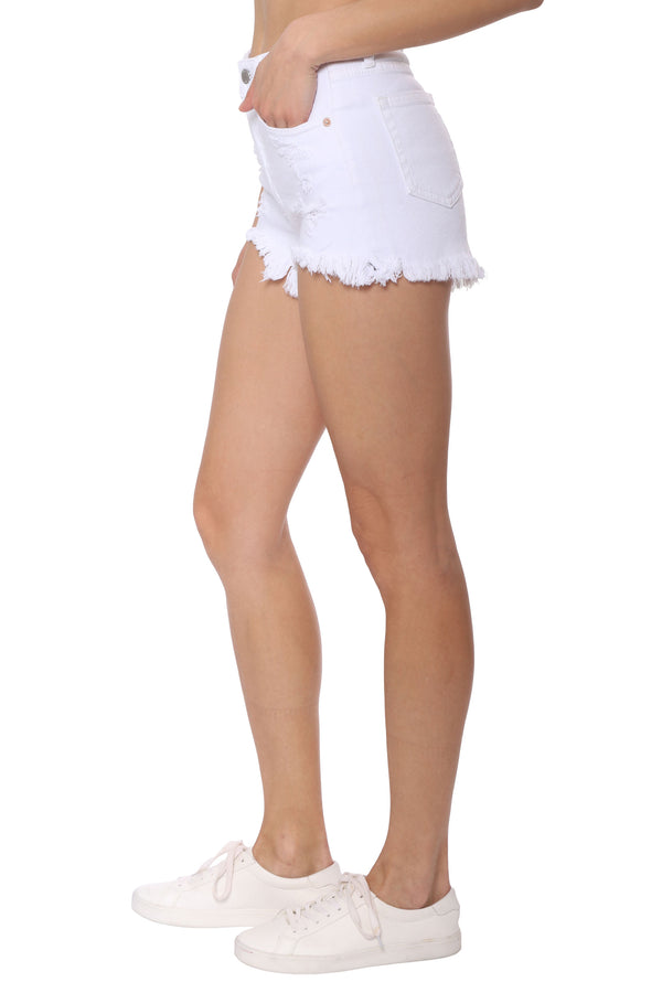 Mid Rise White Shorts With Fray Hem