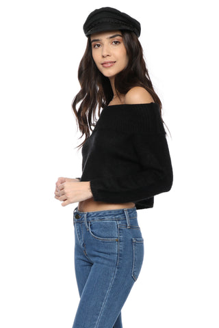 W.A.P.G. Off The Shoulder Crop Sweater