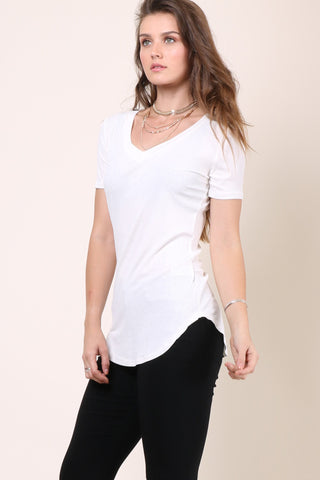 Malibu Beach Basics Ribbed Tee - White