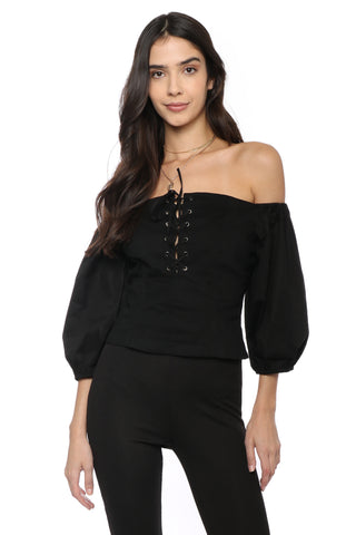 Decker Off The Shoulder Lace Up Top