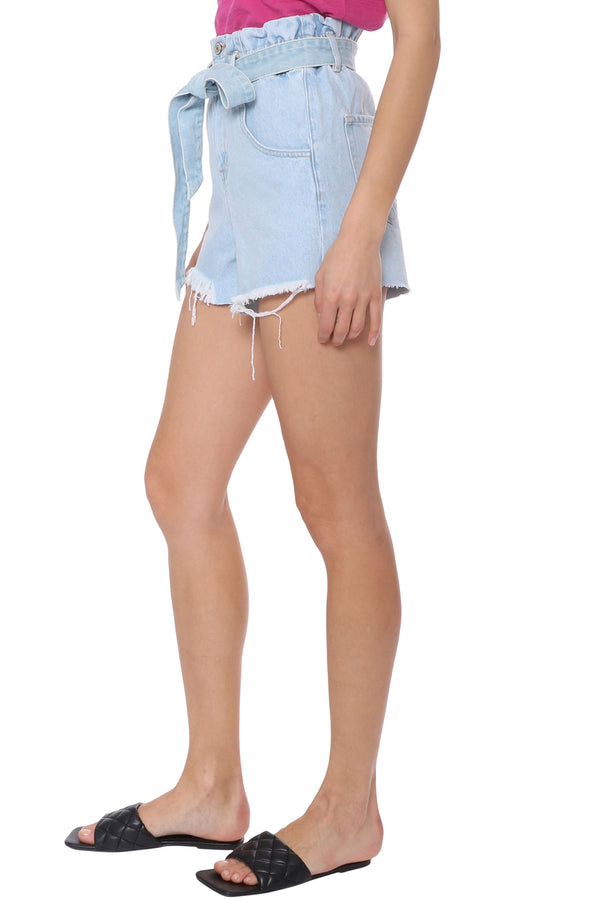 Double Button Tie Waist Mom Shorts