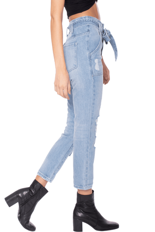 Super High Rise Tie Distressed Jean