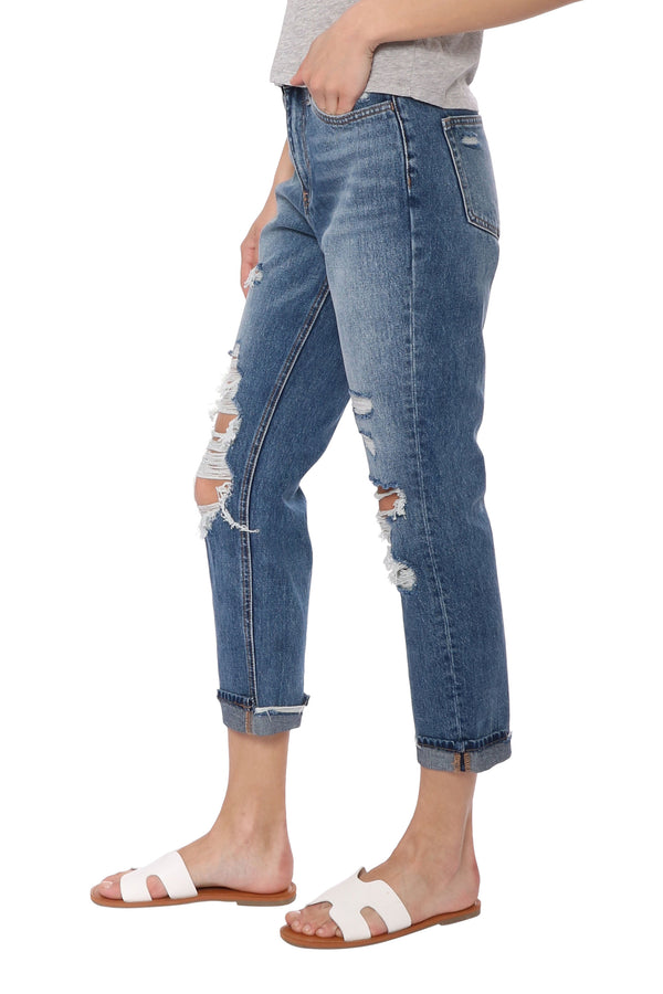 Distressed Cuff Mom Jean