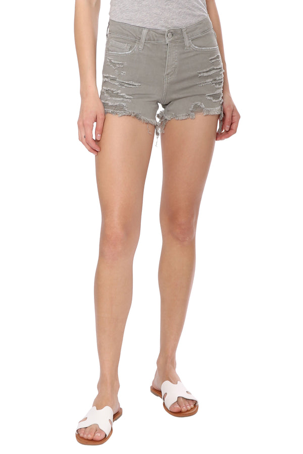 Mid Rise Shorts With Fray Hem