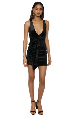 Jordyn Jagger Deep V Velvet Mini Dress