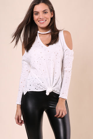 Jac Parker Distressed Cold Shoulder Choker Top
