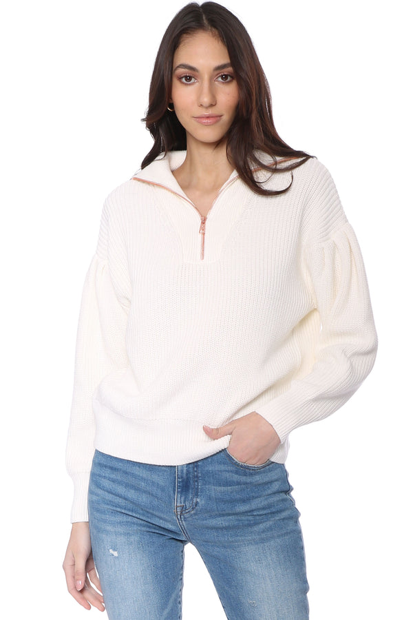 Pleat Sleeve Quarter Zip