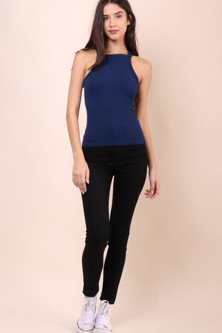 Suzette Reversable Lace Up Cami - Navy