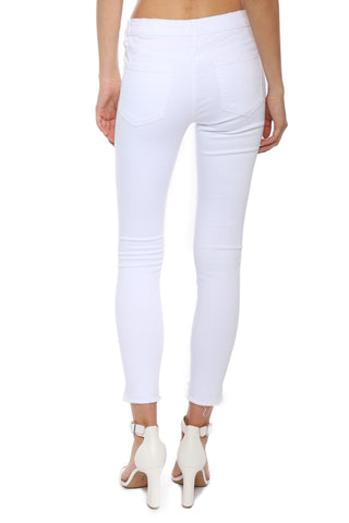 VERVET MR White Frayed Step Hem Crop Skinny