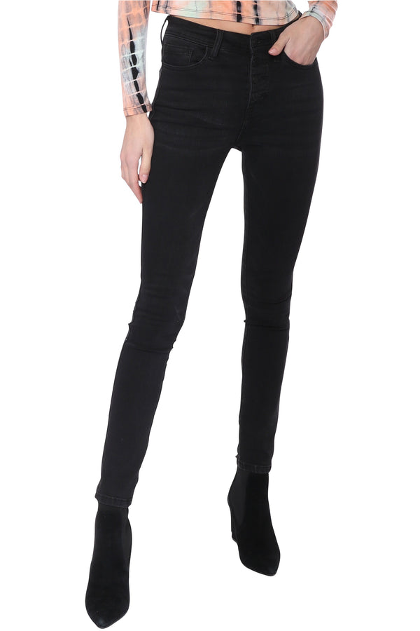 High Rise Button Up Skinny Black