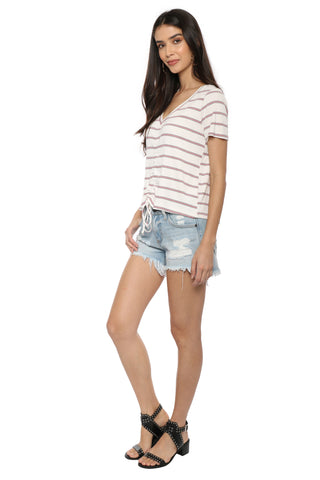 Sunday Stevens Stripe Ruched Top