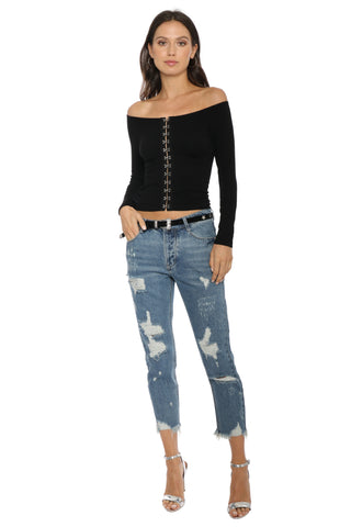 Suzette Hook & Eye Off the Shoulder LS Top