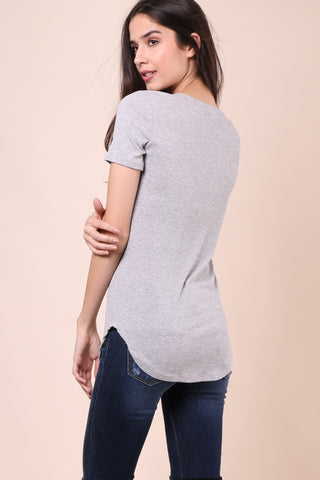 Malibu Beach Basics Ribbed Tee - Grey