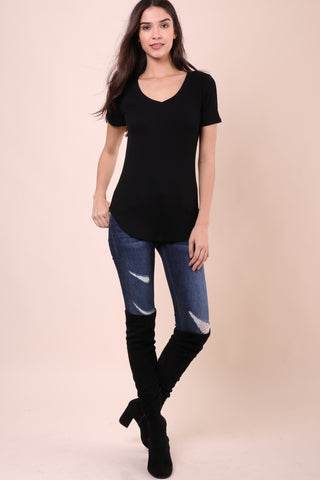 Malibu Beach Basics Ribbed Tee - Black