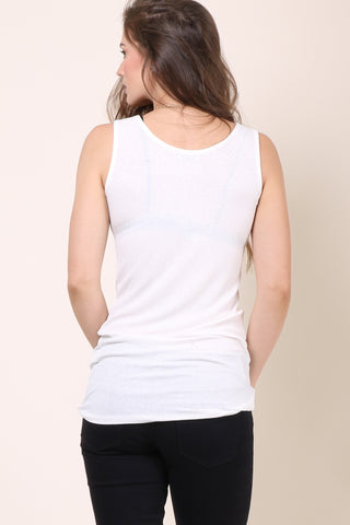 Malibu Beach Basic Ribbed Tank - Ivory