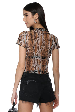 Brooklyn Karma Snake Mesh Top