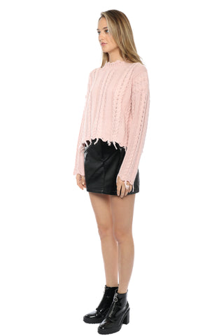 Moon River Fray Twist Sweater