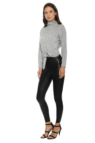 Fox + Hawk Mock Neck Tie Front Sweater