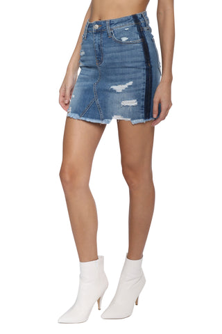 VERVET Distressed Uneven Fray Skirt