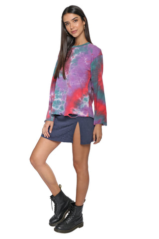 Brooklyn Karma Tie Dye Distressed L/S Tee
