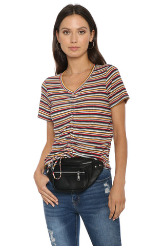 Sunday Stevens Multi Stripe Gathered Rib Tee