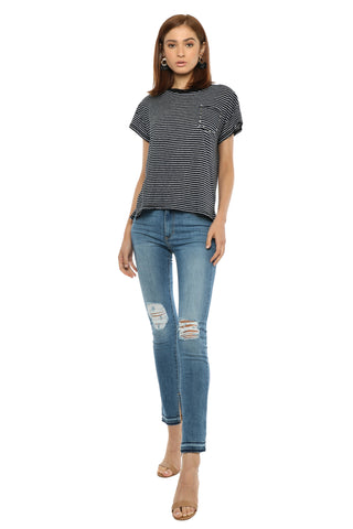 Brooklyn Karma Stripe Studded Pocket Tee