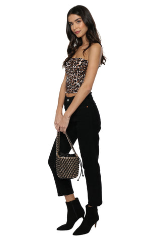 Gab & Kate Leopard Smocked Tube Top