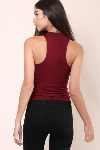 Malibu Beach Basics Day By Day Tank- Burgundy