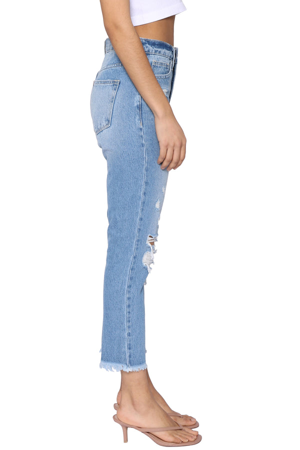 Distressed Raw Hem Mom Jean
