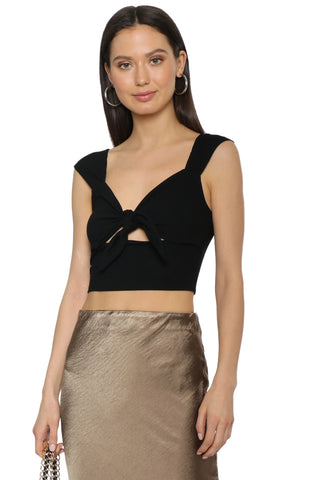 Gab & Kate Ribbed Knit Front Crop Top