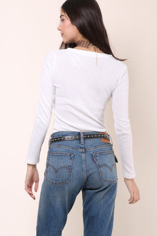Gab & Kate Ribbed Button Henley - White