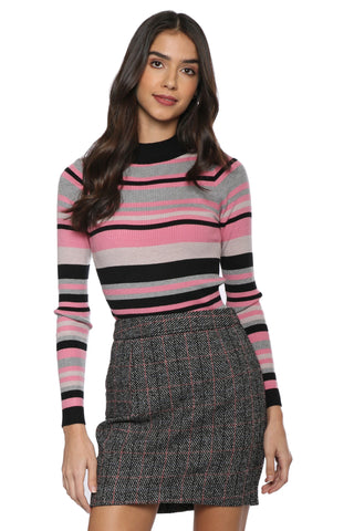 Sunday Stevens Ribbed Stripe Turtleneck